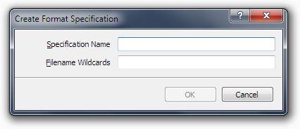The Create Format Specification dialog box.